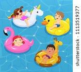 vector of children floating on... | Shutterstock .eps vector #1113519377