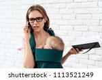 business woman talking phone...   Shutterstock . vector #1113521249