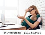 tired business woman with...   Shutterstock . vector #1113522419