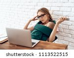 tired business woman with...   Shutterstock . vector #1113522515