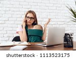 young mother working home with...   Shutterstock . vector #1113523175