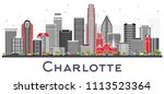 charlotte nc city skyline with... | Shutterstock .eps vector #1113523364