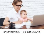 young business lady try to work ...   Shutterstock . vector #1113530645