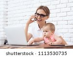 young business lady try to work ...   Shutterstock . vector #1113530735