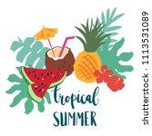 minimal summer trendy vector... | Shutterstock .eps vector #1113531089