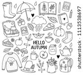 autumn doodles. hand drawn set... | Shutterstock .eps vector #1113538697