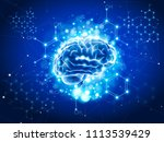 blue shining brain   chemical... | Shutterstock .eps vector #1113539429