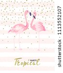 couple pink flamingos. tropical ... | Shutterstock .eps vector #1113552107
