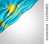 kazakhstan flag of silk with... | Shutterstock . vector #1113563831