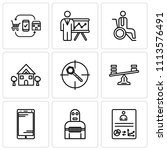 set of 9 simple editable icons... | Shutterstock .eps vector #1113576491