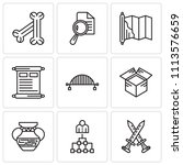 set of 9 simple editable icons... | Shutterstock .eps vector #1113576659