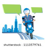 a delivery quick parcel by... | Shutterstock .eps vector #1113579761