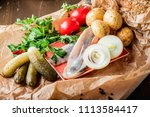 traditional russian snacks for... | Shutterstock . vector #1113584417