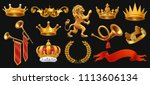gold crown of the king. laurel... | Shutterstock .eps vector #1113606134