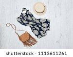 summer romper  handbag and hat. ... | Shutterstock . vector #1113611261