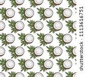 coconut pattern background | Shutterstock .eps vector #1113616751