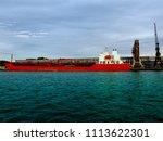 dockyard with heavy freight... | Shutterstock . vector #1113622301