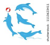 Set Of Blue Dolphins. Vector...