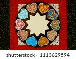 christmas gingerbread star in... | Shutterstock . vector #1113629594