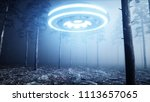 ufo in fog night forest.... | Shutterstock . vector #1113657065
