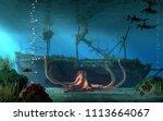 a sunken pirate ship lies on... | Shutterstock . vector #1113664067