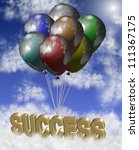 Group of earth globes shaped as balloons lifting golden word success / Global success - stock photo