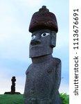 Moai statue in Hanga Roa, Easter Island, Chile.