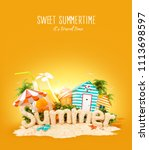 the word summer made of sand on ...   Shutterstock . vector #1113698597