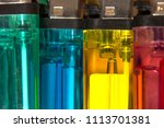 colorful plastic gas lighter....   Shutterstock . vector #1113701381