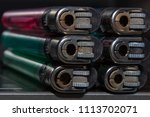 top view colorful plastic gas...   Shutterstock . vector #1113702071