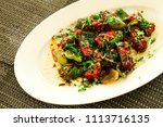 paneer chilli  made  with spicy ... | Shutterstock . vector #1113716135