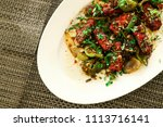 paneer chilli  made  with spicy ... | Shutterstock . vector #1113716141
