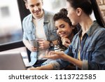 meeting of friends. delighted... | Shutterstock . vector #1113722585