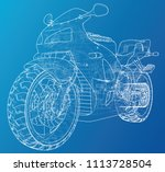 sport motorcycle technical wire ... | Shutterstock .eps vector #1113728504
