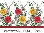 watercolor flower horizontal... | Shutterstock . vector #1113732701