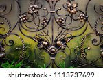 wrought iron gates  ornamental... | Shutterstock . vector #1113737699