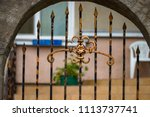wrought iron gates  ornamental... | Shutterstock . vector #1113737741