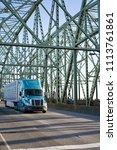big rig long haul modern blue... | Shutterstock . vector #1113761861