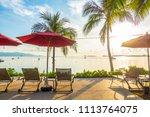 beautiful tropical sea ocean... | Shutterstock . vector #1113764075