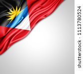 antigua  flag of silk with... | Shutterstock . vector #1113780524