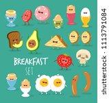 funny breakfast set. comic... | Shutterstock .eps vector #1113791084