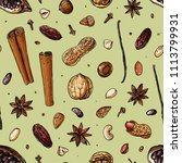 pattern nuts and spices line... | Shutterstock .eps vector #1113799931