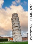 medieval leaning tower of pisa  ... | Shutterstock . vector #1113801284