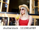 young pretty sympathetic blonde ... | Shutterstock . vector #1113816989
