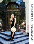 a beautiful blonde young girl... | Shutterstock . vector #1113819191