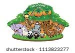 zoo vector cartoon illustration ... | Shutterstock .eps vector #1113823277