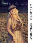 beautiful blonde woman in a... | Shutterstock . vector #1113844175