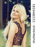 beautiful blonde woman in a... | Shutterstock . vector #1113844181