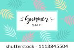 summer sale banner with... | Shutterstock .eps vector #1113845504