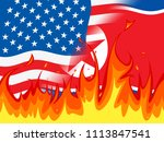 north korea and us crisis... | Shutterstock . vector #1113847541